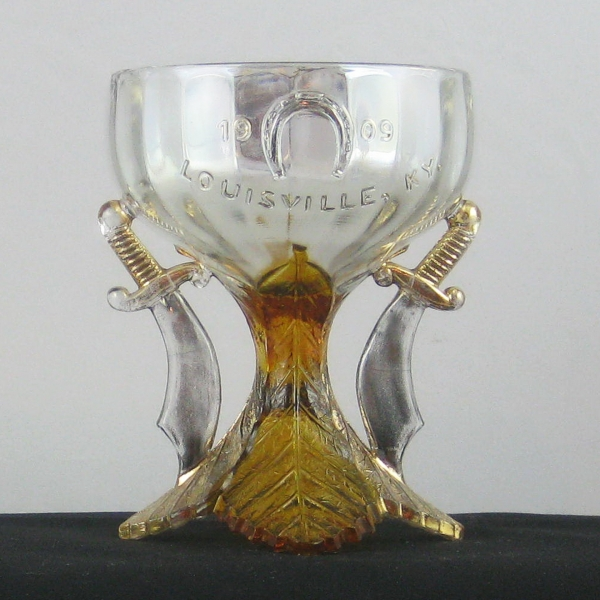 Antique Westmoreland Crystal Decorated Shriner's Carnival Glass Champagne Louisville