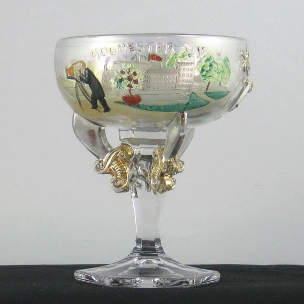 Antique Westmoreland Crystal Decorated Shriner's Carnival Glass Champagne Rochester, NY